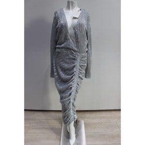 Lavish Alice Silver Iridescent Sequin Midi Dress